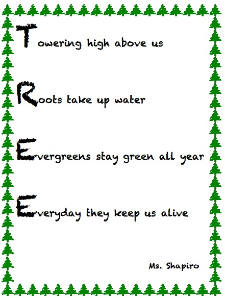 Acrostic Name Poem Template Tree acrostic